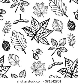 pattern with leaves. black and white