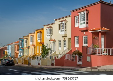 Pattern looking new colorful houses at Tenerife island. Canary islands, Spain