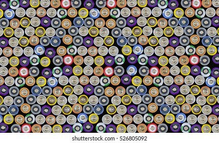 pattern made by contacts at the positive pole of used batteries and rechargeable cells of the size AA - Shutterstock ID 526805092
