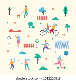 Pattern Made of characters that walk with dog, ride bicycle and scooter, do selfie, jog in morning, play badminton among trees  illustration.