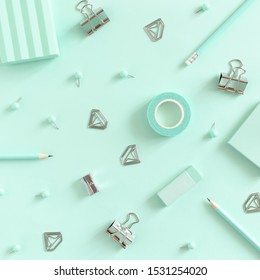 Pattern made of mint stationery