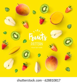 Pattern with mango, kiwi, strawberry and pear.