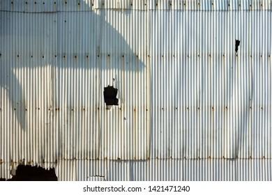 Pattern of metal wall of dairy farm