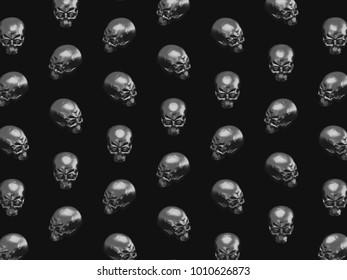 Pattern of metallic skulls horror Halloween or heavy metal background 3D illustration.