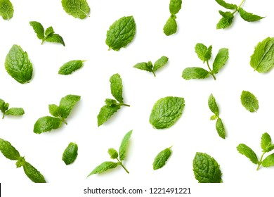 Pattern of mint leaves isolated on white background. Top view