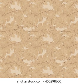 pattern old dry yellow autumn oak leaves on a white background
