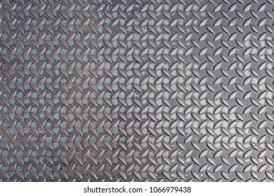 Pattern of old metal diamond plate, Surface of black steel floor non-skid with dirty stain, Texture background