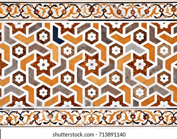 Pattern on Taj Mahal in Agra, India. Taj Mahal is widely recognized as the jewel of Muslim art and one of the universally masterpieces of the world.
