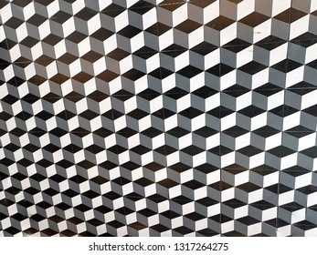 The pattern on the tile floor.