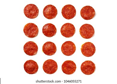 Pattern of pepperoni sausages. ingredient for pizza