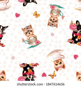 pattern print with puppies in cups and background with geometric shapes - Shutterstock ID 1847614636