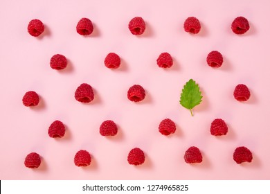 Pattern of raspberry on pink background. Flat lay summer berries - red raspberries and mint leaf. Creative minimalism