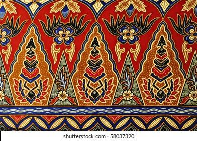 Pattern of Red Batik background