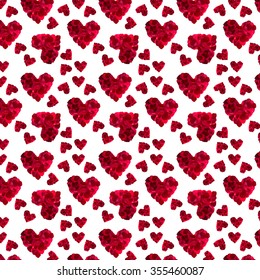 pattern red heart rose petals on a white background