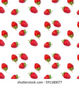 pattern ripe fresh red strawberries on a white background
