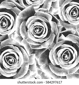 pattern with roses, oil painting, black and white