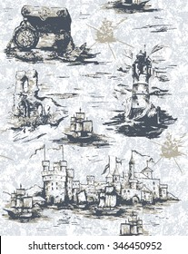 Pattern with sea view in toile de jouy style