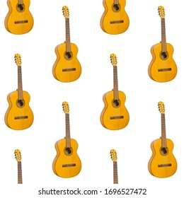 Pattern seamless acoustic guitar on white background. Pattern with instrument for music. Minimalistic concept of music. guitar print