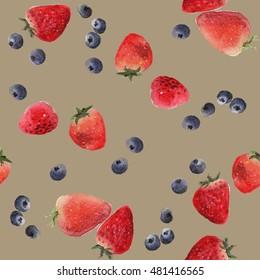 Pattern seamless strawberry background illustration watercolor