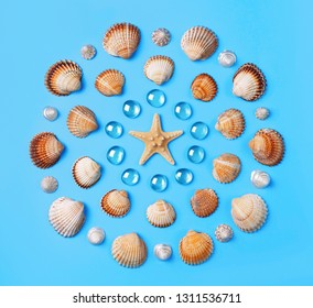 Pattern of seashells, starfish, and blue glass beads on a light blue background. Flat lay, top view