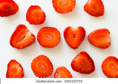 Pattern of sliced strawberries. Decorative element. Original poster. background and texture