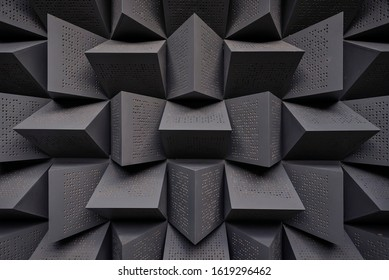 The pattern of the soundproof panel of black plywood.