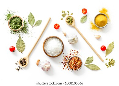 Pattern of spices herbs and flavoring - top view
