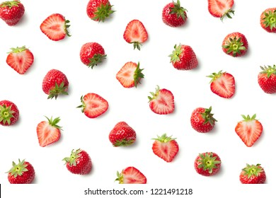 Pattern of strawberries isolated on white background. Top view