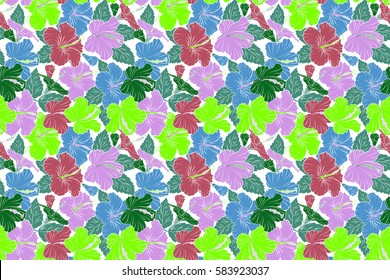 Pattern for summer fashion, interior, wallpaper. Seamless raster tropical design with hibiscus on a white background in green and pink colors. Exotic flowers in allover composition.