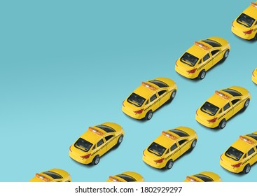 Pattern with toy machine yellow cab on white background. Public taxi service concept. Urban taxi online application.