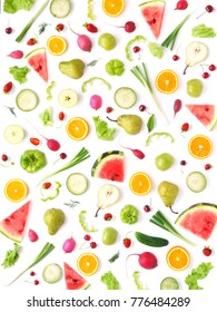 Pattern of vegetables and fruits. Abstract food background, top view, flat lay. Composition of pears, watermelon, peppers, apples, radishes and oranges isolated on a white background. Healthy eating.