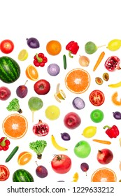 Pattern of vegetables and fruits. Food background Top view Composition of plums, peppers, cucumbers, radish, tomatoes, apples, banana, lemon and orange, watermelon, pomegranate isolated on white - Shutterstock ID 1229633212
