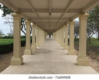 pattern walkway/corridor in arcades architecture, Thailand.