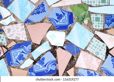 pattern of the wall made from broken tile