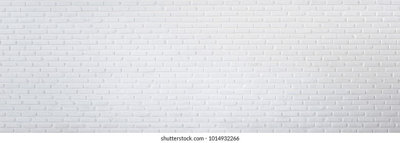 Pattern of white brick wall for background and textured, Seamless white brick wall background panorama