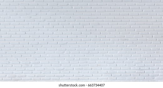 Pattern of white brick wall for background and textured, Seamless white brick wall background