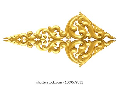 Pattern of wood carve gold paint for decoration isolated on white background