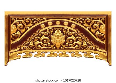 Pattern of wood gold flower carved on wood background