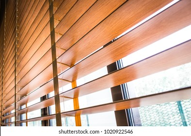 Pattern of the wooden shutters blinds (Windows blinds) with the light sunshine