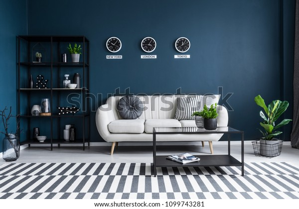 Patterned Carpet Navy Blue Living Room Stock Photo Edit Now 1099743281