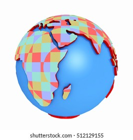 Patterned globe isolated on white background Computer generated 3D illustration