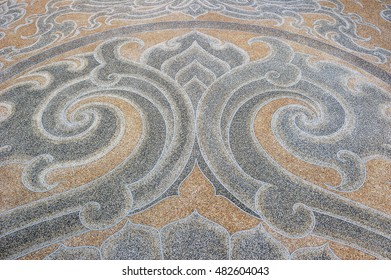Patterned of pavement in temple of Thailand.