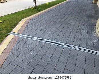 patterned paving tiles, cement brick floor background