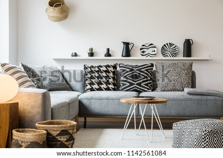 Groovy Patterned Pillows On Grey Couch Modern Stock Photo Edit Now Andrewgaddart Wooden Chair Designs For Living Room Andrewgaddartcom