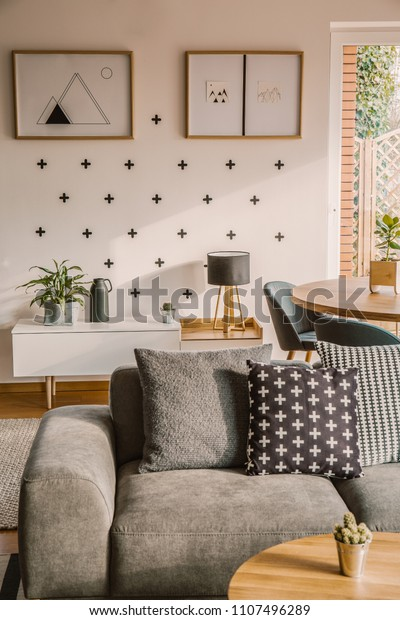 Awesome Patterned Pillows On Grey Couch Modern Royalty Free Stock Andrewgaddart Wooden Chair Designs For Living Room Andrewgaddartcom