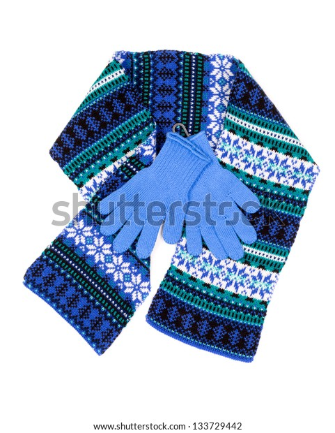 patterned scarf and blue gloves, isolated on white