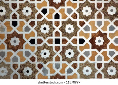 Patterned tile floor in Red Fort, Delhi City, India