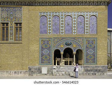 Patterned walls and wooden windows of the royal palace Golestan oldest groups of buildings in persian capital, was rebuilt to its current form in 1865. Tehran, Iran.