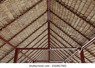 patterns of nypa palm leaves tied together as the local tropical roof