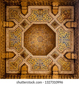 patterns on the ceiling of an ancient mosque